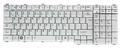 Keyboard TOSHIBA Satellite A500 A505 L350 L500 P200 P300 (SILVER, BIG ENTER)