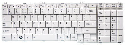 Keyboard TOSHIBA Satellite C650 C660 L650 L670 L770 (WHITE, SMALL ENTER)